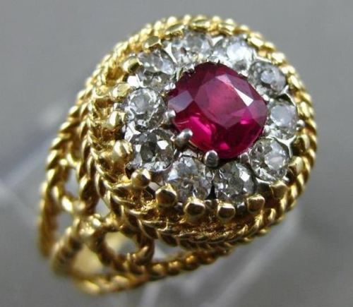 ANTIQUE 1.25CT OLD MINE DIAMOND & RUBY 14KT YELLOW GOLD FILIGREE ENGAGEMENT RING