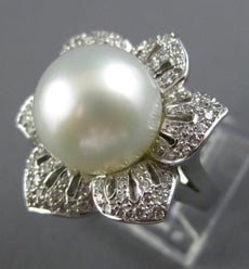 ESTATE EXTRA LARGE 1.40CT DIAMOND & SOUTH SEA PEARL18K WHITE GOLD 3D FLOWER RING