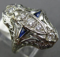 ANTIQUE WIDE .45CT OLD MINE DIAMOND & SAPPHIRE 18K WHITE GOLD FILIGREE RING 1996