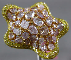 EXTRA LARGE 5.79CT PINK & FANCY YELLOW DIAMOND 18K YELLOW & ROSE GOLD STAR RING