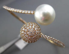 ESTATE LARGE 2.60CT DIAMOND & AAA SOUTH SEA PEARL 18KT ROSE GOLD BANGLE BRACELET