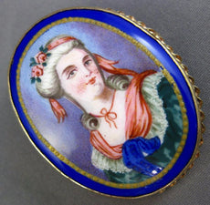 ANTIQUE AAA MULTI COLOR ENAMEL 14K YELLOW GOLD 3D LADY CAMEO PORTRAIT PIN BROOCH
