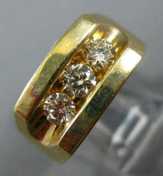 ESTATE LARGE .76CT DIAMOND 14KT YELLOW GOLD 3D 3 STONE CHANNEL ETOILE MENS RING