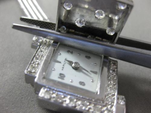 ANTIQUE 1.15CT OLD MINE DIAMOND 14KT WHITE GOLD HAMILTON WATCH BRACELET #17253