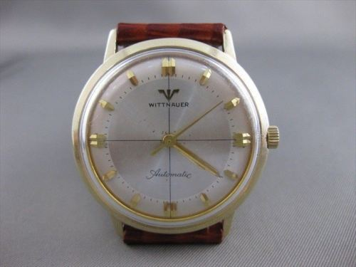 ESTATE WITTNAUER SWISS AUTOMATIC 14KT YELLOW GOLD MENS WATCH LEATHER BAND #21521