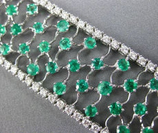 WIDE 15.0CT DIAMOND & COLOMBIAN EMERALD 18KT WHITE GOLD FILIGREE TENNIS BRACELET