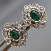 ESTATE .47CT DIAMOND & AAA EMERALD 18K WHITE GOLD 3D FILIGREE OVAL STUD EARRINGS