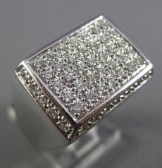 ESTATE LARGE 1.40CT DIAMOND 18KT WHITE GOLD 3D HANDCRAFTED RECTANGULAR MENS RING