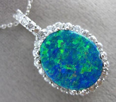 MASSIVE 6.31CT DIAMOND & AAA AUSTRIALIAN OPAL 14KT WHITE GOLD HALO PENDANT 25967