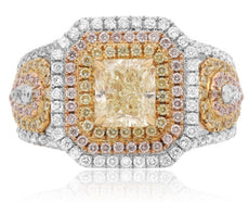 LARGE 2.3CT WHITE PINK & FANCY YELLOW DIAMOND 18K TRI COLOR GOLD ENGAGEMENT RING