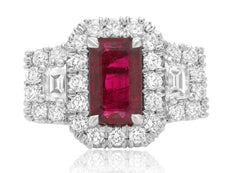 GIA CERTIFIED 3.16CT DIAMOND & AAA RUBY 18KT WHITE GOLD 3 STONE ENGAGEMENT RING
