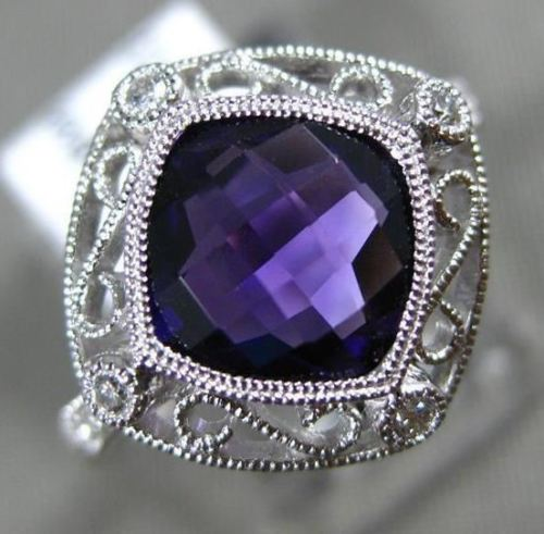 1.74CT DIAMOND & AAA AMETHYST 14KT WHITE GOLD 3D OPEN FILIGREE ETOILE FUN RING