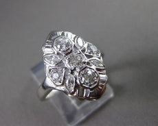 ANTIQUE WIDE .78CT OLD MINE DIAMOND 14KT WHITE GOLD FILIGREE RING BEAUTIFUL 565