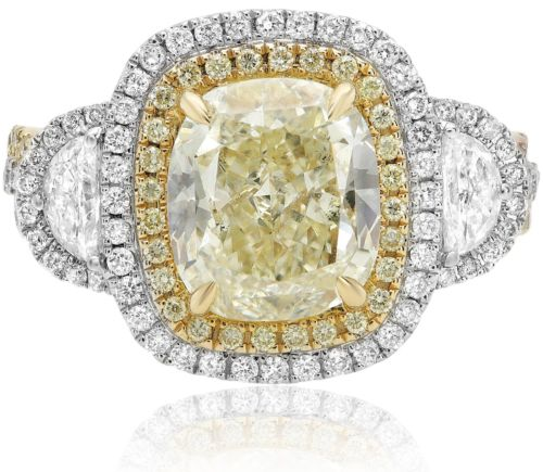 4.62CT WHITE PINK & FANCY YELLOW DIAMOND 18KT TRI COLOR GOLD 3D ENGAGEMENT RING