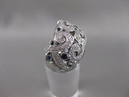 ANTIQUE 1.05CTW SAPPHIRE DIAMOND 14KT WHITE GOLD WIDE FILIGREE BAND RING #20399