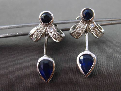 ANTIQUE 1.74CT DIAMOND & AAA SAPPHIRE 18KT WHITE GOLD 3D DROP HANGING EARRINGS