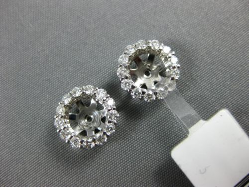 ESTATE WIDE .46CT DIAMOND 14K WHITE GOLD 3D CLASSIC ROUND FLOWER JACKET EARRINGS