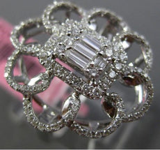 ESTATE LARGE .78CT ROUND & BAGUETTE DIAMOND 18KT WHITE GOLD FLOWER COCKTAIL RING