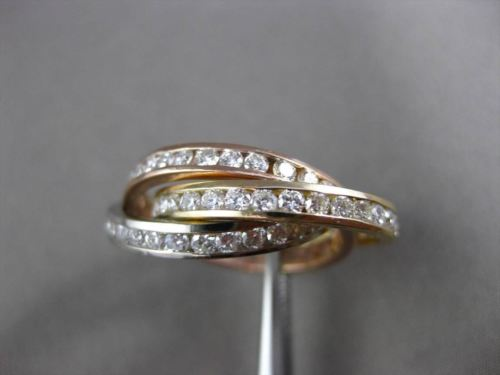 ESTATE WIDE 3CT DIAMOND 14K WHITE YELLOW & ROSE GOLD TRINITY ETERNITY RING #2939