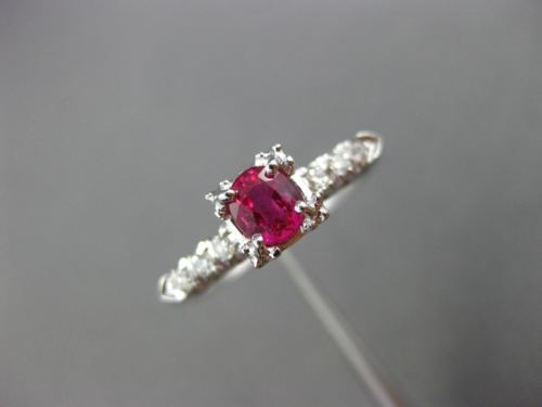 ANTIQUE WIDE .53CT DIAMOND & AAA RUBY 14KT WHITE GOLD FISH TAIL ENGAGEMENT RING