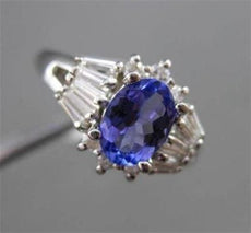 ESTATE 1.42CTW DIAMOND & AAA TANZANITE 14KT WHITE GOLD CLUSTER ENGAGEMENT RING