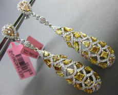 LARGE 5.60CT WHITE & FANCY YELLOW DIAMOND 18KT TWO TONE GOLD TEAR DROP EARRINGS