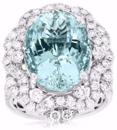 LARGE 10.95CT DIAMOND & AAA AQUAMARINE 14K WHITE GOLD 3D OVAL HALO COCKTAIL RING