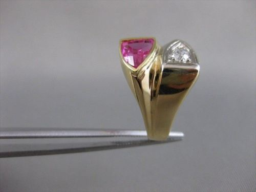LARGE ANTIQUE OLD MINE DIAMOND FANCY RUBY 14KT W YELLOW GOLD RING #19272