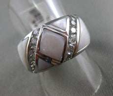 ESTATE WIDE .57CT DIAMOND 14KT WHITE GOLD 3D AAA MOTHER OF PEARL TRIANGULAR RING