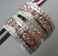 WIDE 1.58CT WHITE & PINK DIAMOND 18KT WHITE & ROSE GOLD 3D HEART HUGGIE EARRINGS