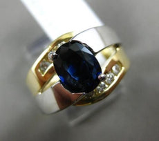 ESTATE WIDE 2CT DIAMOND & AAA SAPPHIRE 14KT 2 TONE GOLD INFINITY ENGAGEMENT RING