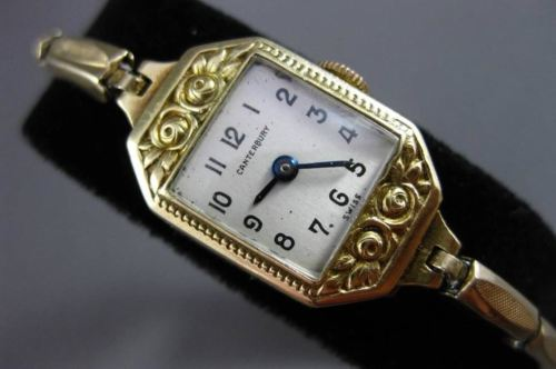ANTIQUE 14KT GOLD FILLED OCTAGON CANTERBURY FLORAL DESIGN WATCH AMAZING! #22615