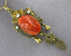 ANTIQUE PEARL & CORAL 14K YELLOW GOLD VICTORIAN HANDCRAFTED TASSEL PENDANT 24430