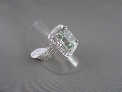 ESTATE WIDE SQUARE AAA GREEN AMETHYST & DIAMOND 7.15CTW 14KT WHITE GOLD RING