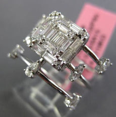 LARGE .83CT MARQUISE ROUND & BAGUETTE DIAMOND 18KT WHITE GOLD ETOILE SQUARE RING