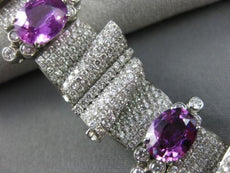 WIDE AGL CERTIFIED 26.43CT DIAMOND & PURPLE SAPPHIRE PLATINUM 3D TENNIS BRACELET