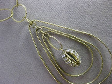 ESTATE EXTRA LARGE .90CT DIAMOND 14K YELLOW GOLD OVAL SPIDER WEB LARIAT NECKLACE