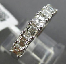 ESTATE 2.16CT ASHER CUT DIAMOND 18KT WHITE GOLD 7 STONE WEDDING ANNIVERSARY RING
