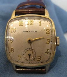 ANTIQUE WALTHAM 14KT YELLOW GOLD FILL SQUARE MENS WATCH WORKS #19061