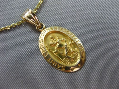 ESTATE 14KT YELLOW GOLD OVAL SAINT CHRISTOPHER PROTECT US FLOATING PENDANT 24992
