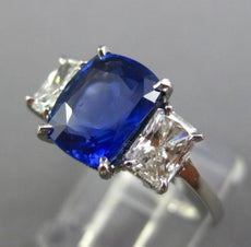 ESTATE CERTIFIED 4.68CT DIAMOND & SAPPHIRE NON HEATED PLATINUM ENGAGEMENT RING