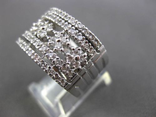 ESTATE WIDE 1.36CT DIAMOND 14KT WHITE GOLD MULTI ROW FLORAL OPEN FUN RING #16803