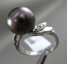 ESTATE .05CT ROUND DIAMOND 14K WHITE GOLD AAA TAHITIAN PEARL 3D ETOILE LEAF RING