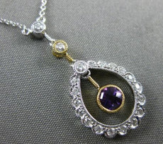 ANTIQUE .43CT DIAMOND & AMETHYST 14KT WHITE GOLD 3D FILIGREE FLOATING NECKLACE