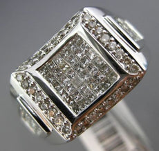 ESTATE 1.75CT ROUND & PRINCESS DIAMOND 14KT WHITE GOLD 3D HANDCRAFTED MENS RING