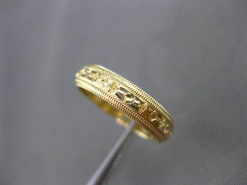 ANTIQUE 14K YELLOW GOLD DOUBLE MILGRAIN WEDDING ANNIVERSARY RING BAND 4mm #24175