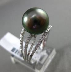 ESTATE LARGE .32CT DIAMOND 14KT WHITE GOLD AAA TAHITIAN PEARL OPEN FILIGREE RING