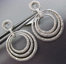 LARGE 3.23CT DIAMOND 18KT WHITE GOLD 3D MULTI CIRCULAR CLIP ON HANGING EARRINGS