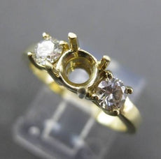 ESTATE .40CT DIAMOND 14KT YELLOW GOLD 3 STONE SEMI MOUNT ENGAGEMENT RING #21111