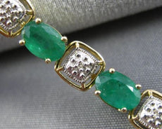 ESTATE 8.15CT DIAMOND & AAA EMERALD 14KT GOLD OVAL & SQUARE LOVE TENNIS BRACELET